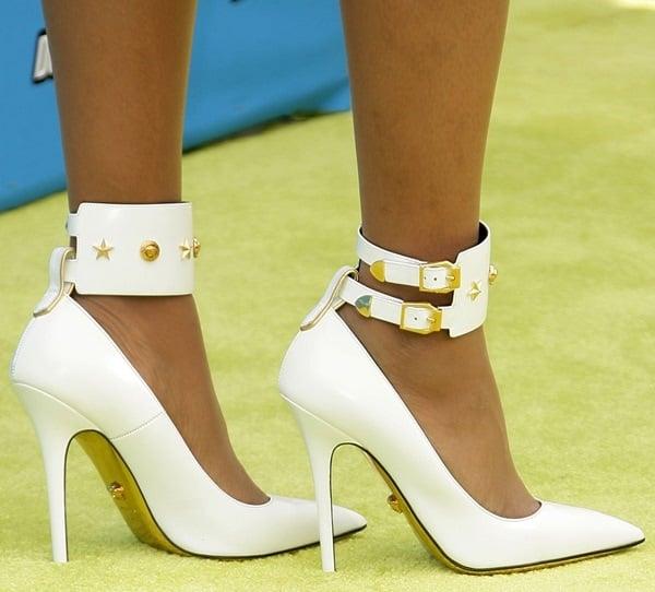 Jennifer Hudson wearing white star studded Versace pumps