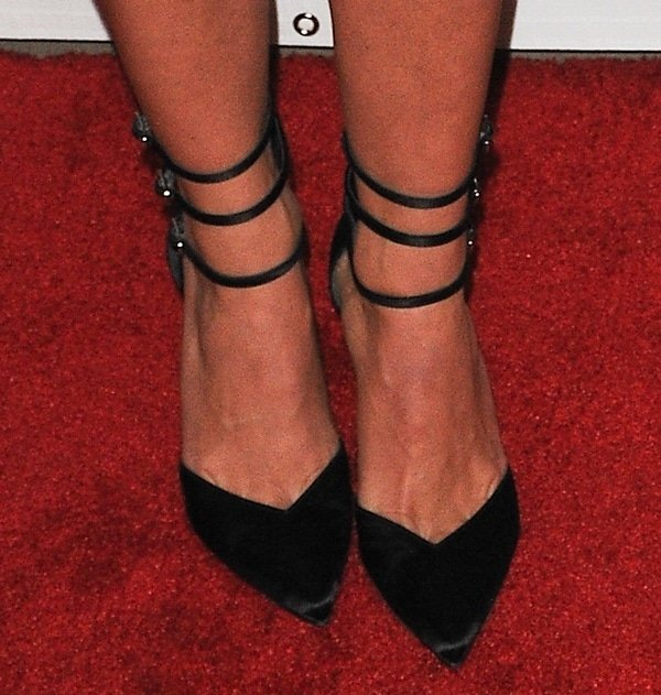Julianne Hough shows off her feet in Stuart Weitzman Privacy pumps