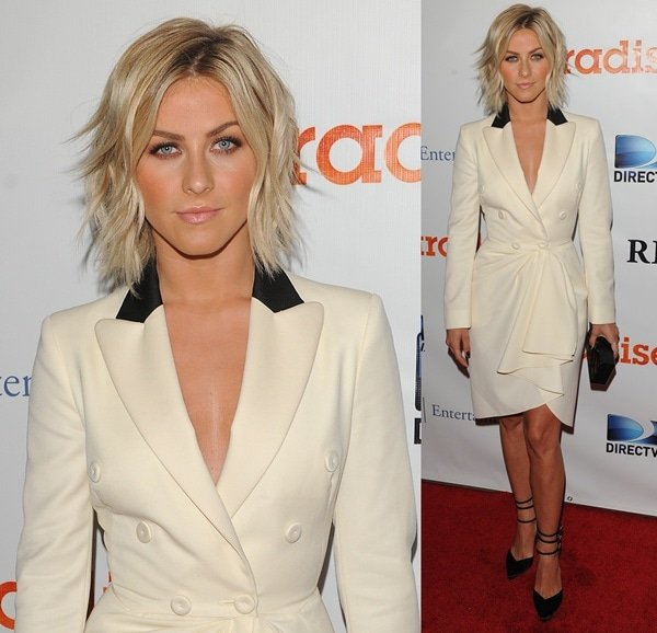 Julianne Hough in monochromatic Moschino tuxedo-inspired dress at the premiere of her new film