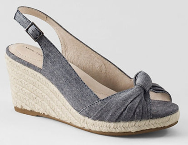 Land's End Slingback Espadrille Wedges in Chambray