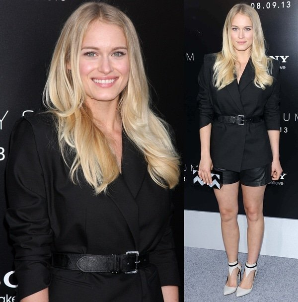 Leven Rambin in a sleek Jean Paul Galtier jacket and Jonathan Simkhai leather shorts