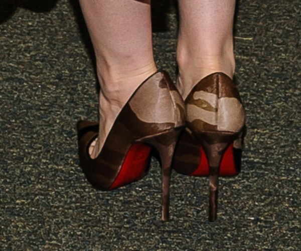Lily Collins'brown-and-black camouflage So Kate pumps from Christian Louboutin