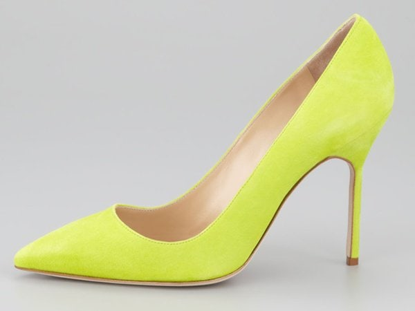 manolo blahnik bb lime green suede