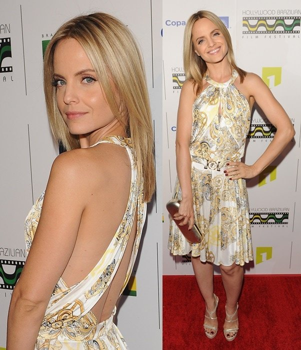 Mena Suvari in a Versace Collection dress at the 5th Annual Hollywood Brazilian Film Festival in Los Angeles on July 31, 2013