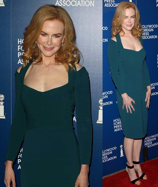 Nicole Kidman in a gorgeous Narciso Rodriguez dress paired with stunning gold-trimmed ankle-strap sandals from Nicholas Kirkwood