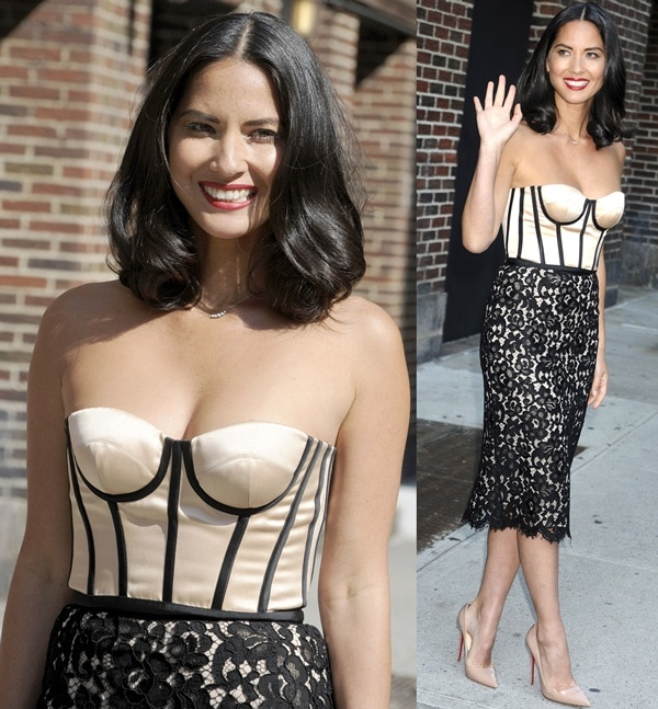 Olivia posed outside the Ed Sullivan Theater in a bustier-and-lace dress from Michael Kors' Pre-Fall 2013 collection