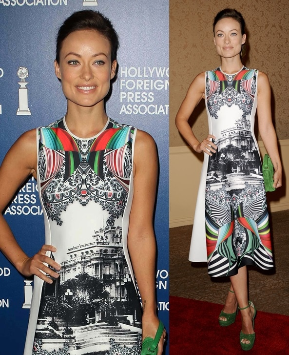 Olivia Wilde wore a beautiful frock from Clover Canyon with a green clutch and a pair of green ankle-strap sandals, both from Jimmy Choo