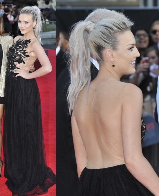 Perrie Edwards showing off her back in a see-through gown by Patricia Bonaldi at the premiere of 'One Direction: This Is Us' in London on August 20, 2013