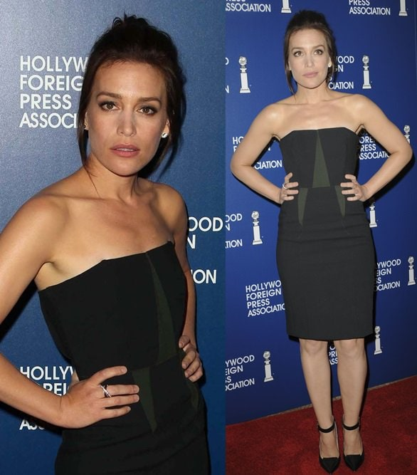 Piper Perabo wearing a Cedric Charlier dress and Jimmy Choo pumps for the Hollywood Foreign Press Association Luncheon in Beverly Hills on August 13, 2013