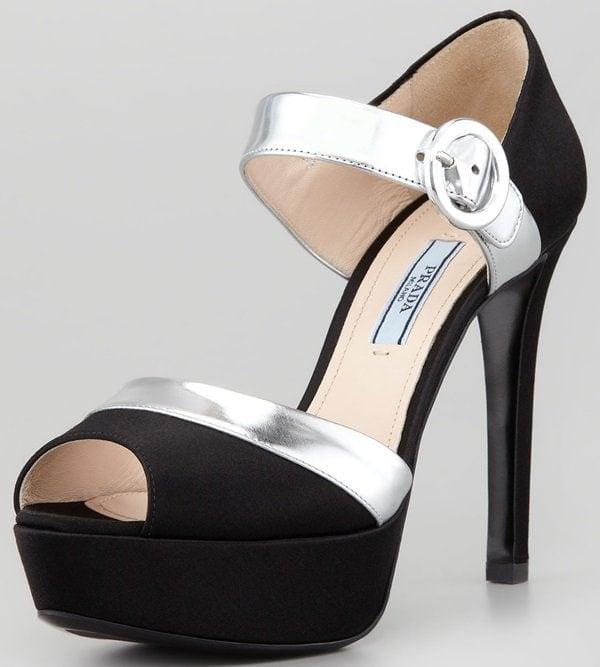 Prada Bicolor Platform Sandals in Black Satin