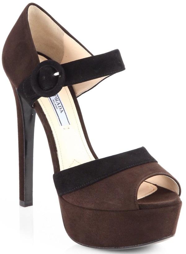 Prada Bicolor Platform Sandals in Brown Suede