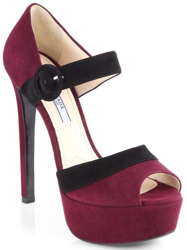Prada Bicolor Platform Sandals in Burgundy Suede
