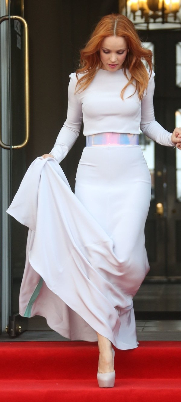 Rachel McAdams'floor-length skirt with a reflective PVC belt