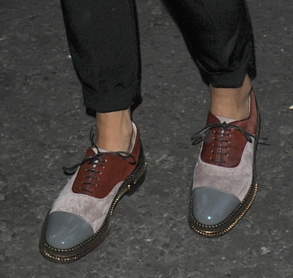 Rita Ora wearing color-blocked oxfords with cropped pants