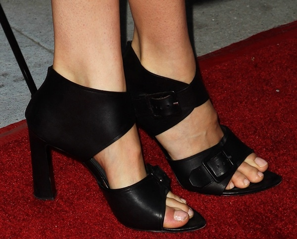 Shailene Woodley wearing funky black Proenza Schouler sandals