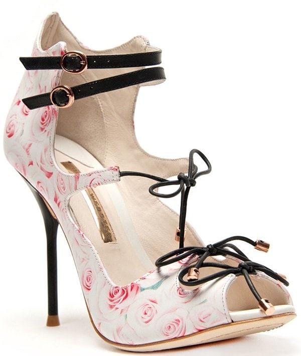 Sophia Webster 'Finn' 3D-Rose-Print Leather Lace-Up Sandals