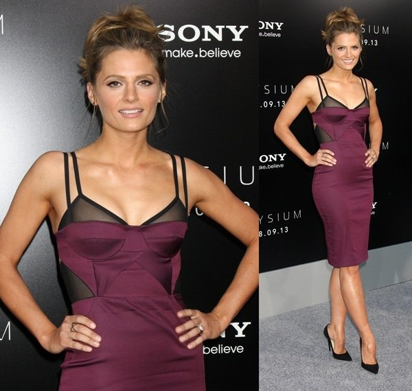 "Stana Katic in a sexy Bec & Bridge dress at the world premiere of ""Elysium"""
