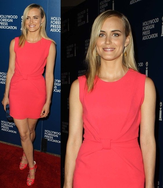 Taylor Schilling in hot coral from head to toe at the Hollywood Foreign Press Association Luncheon in Beverly Hills on Augusut 13, 2013