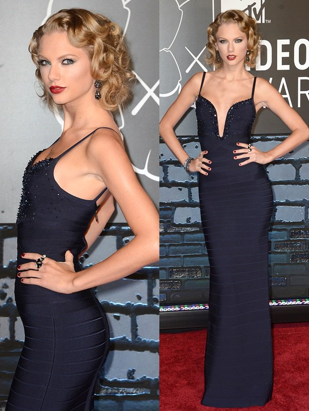 Taylor Swift decked in a deep blue bandage gown from Herve Leger and a pair of two-tone sandals at the 2013 MTV Video Music Awards held at Barclays Center in Brooklyn, New York on August 25, 2013