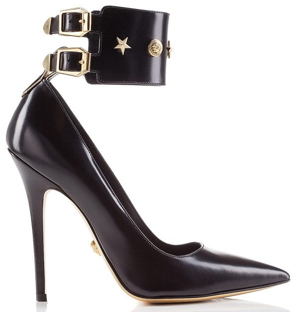 Versace Star-Studded Ankle-Cuff Pumps in Black