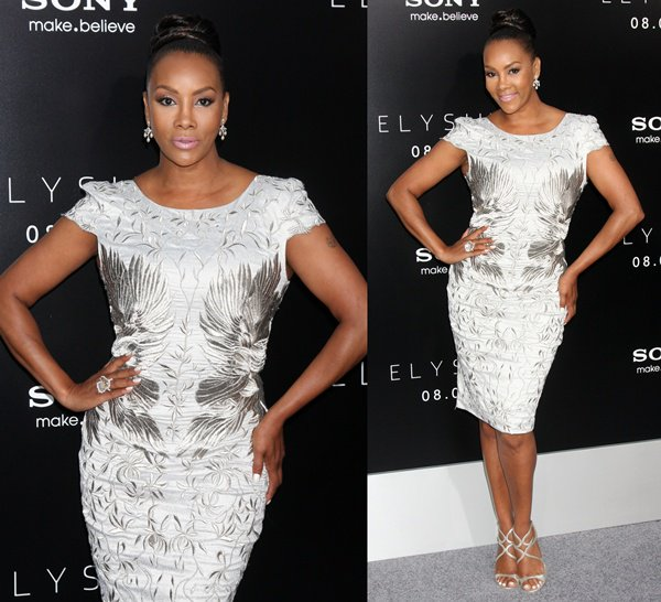 "Vivica A. Fox in a silver embroidered dress at the world premiere of ""Elysium"""