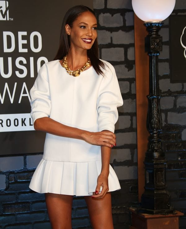 Joan Smalls' long-sleeved white leather dress