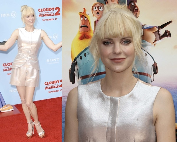 Anna Faris looking like a golden girl at the premiere of 'Cloudy with a Chance of Meatballs 2'