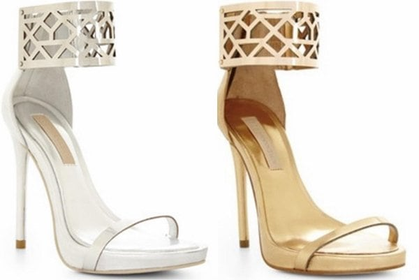 BCBGMAXAZRIA 'Estie' Sandals in Silver and Gold