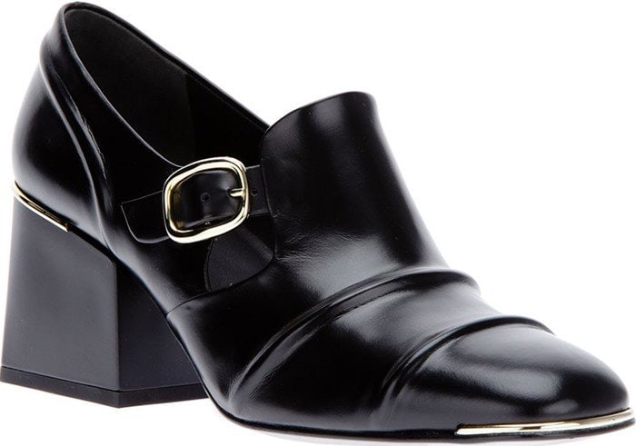 Black Balenciaga Cube Block Heel Leather Loafers