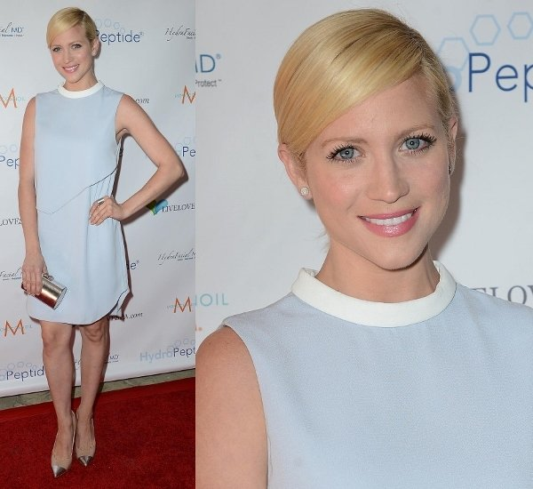 Brittany Snow looked pretty in a pale blue Camilla and Marc shift dress with a white collar