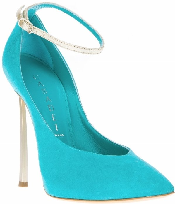 Turquoise Casadei Suede Pumps