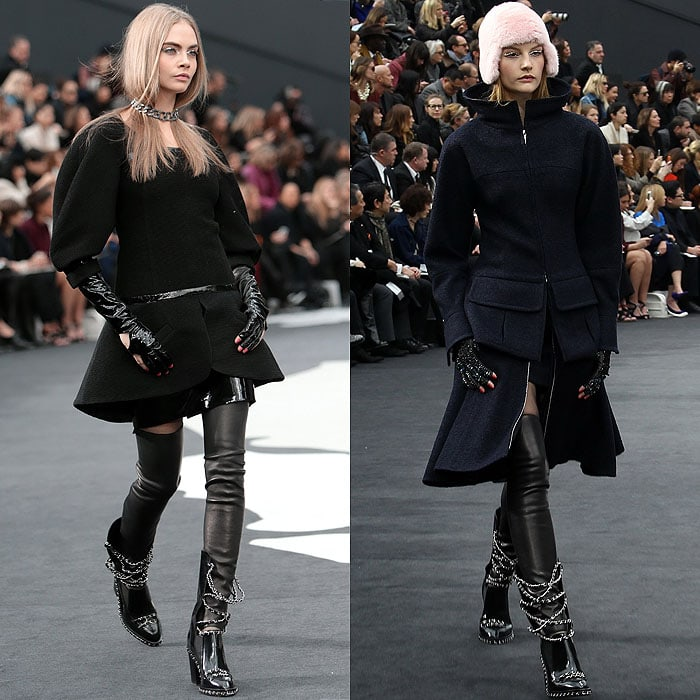 Models Cara Delevingne and Sigrid Agren wearing the chain-strapped loafer boots at the Chanel fall 2013 presentation in Paris, France, on March 5, 2013
