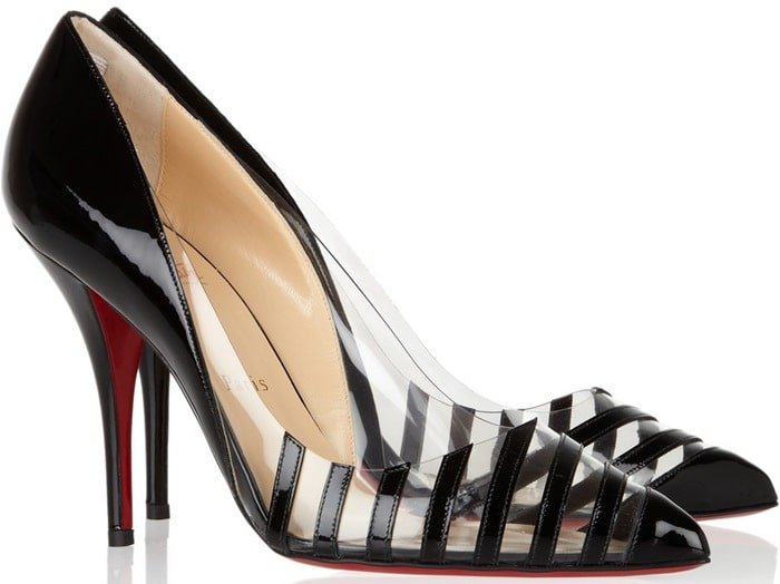 Christian Louboutin Black Pivichic 100 Striped Patent Leather and Pvc Pumps