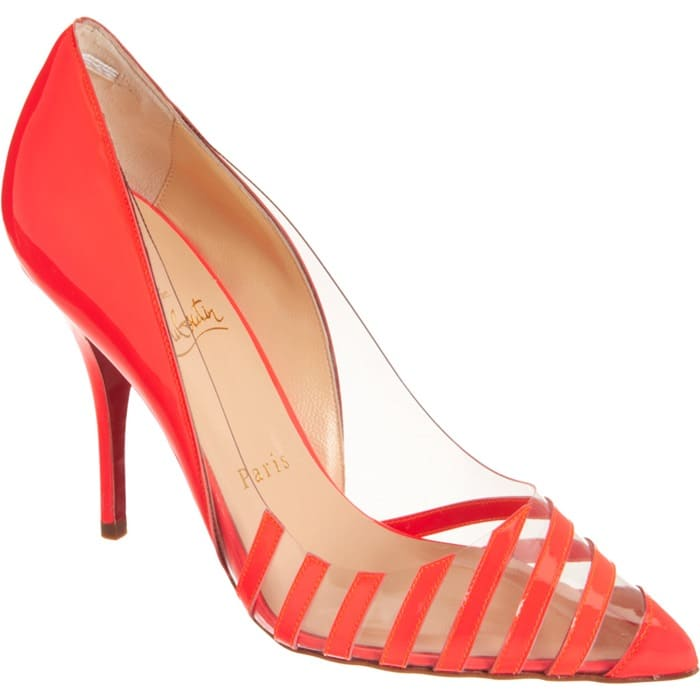 Christian Louboutin Red Pivichic Striped Patent Leather Pumps