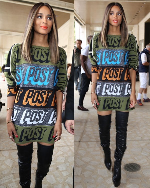"""Ciara in a multicolored """"Post"""" dress from Bernhard Willhelm's Fall 2013 collection"""