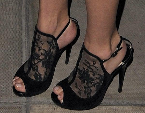 Clara Paget's hot feet in Jimmy Choo heels