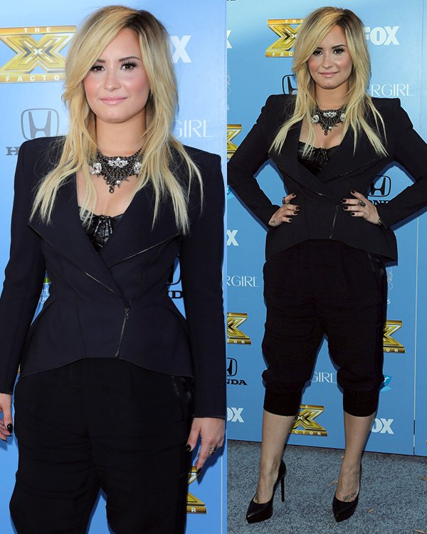 Demi Lovato in cropped pants and a black jacket at The X FactorSeason 3 premiere party