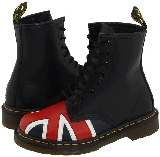 Dr. Martens 1460 Boots in Black Smooth Union Jack