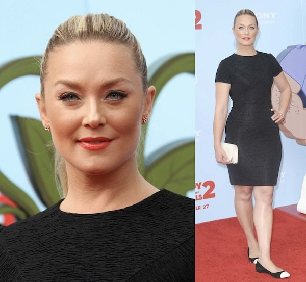 Elisabeth Rohm wearing comfortable Sam Edelman flats at the premiere of 'Cloudy with a Chance of Meatballs 2'