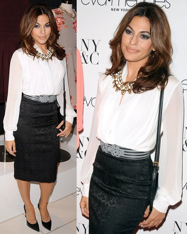 Eva Mendes at the launch of her new clothing line with New York & Company