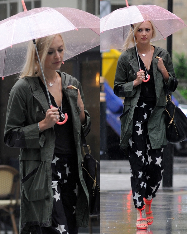 Fearne Cotton arriving at BBC Radio 1 studios in London looking somewhat unhappy