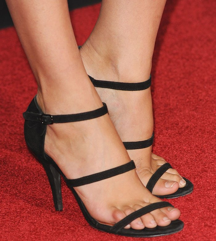 Gal Gadot's feet in strappy black sandals