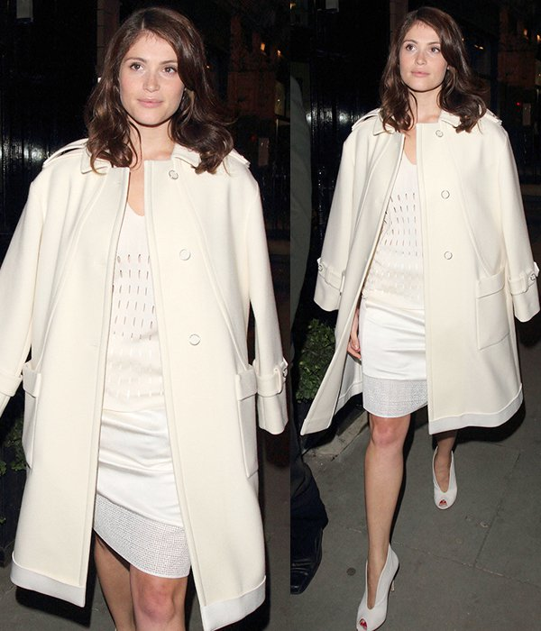 Gemma Arterton flashes her legs at the Pringle flagship store opening
