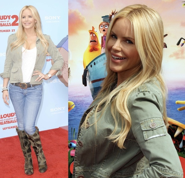 Gena Lee Nolin showing us her mommy side in Donald Pliner boots for the premiere of 'Cloudy with a Chance of Meatballs 2'