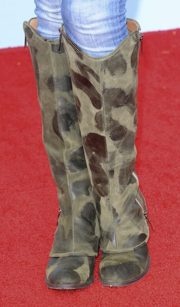 """Gena Lee Nolin wearingknee-high """"Devi3"""" suede boots from Donald Pliner"""