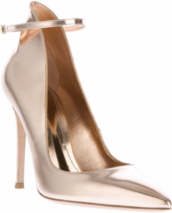 Gold Gianvito Rossi Ankle-Strap Pumps