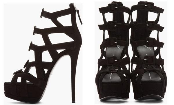 Giuseppe Zanotti Black Suede Cutout Buckled Heels