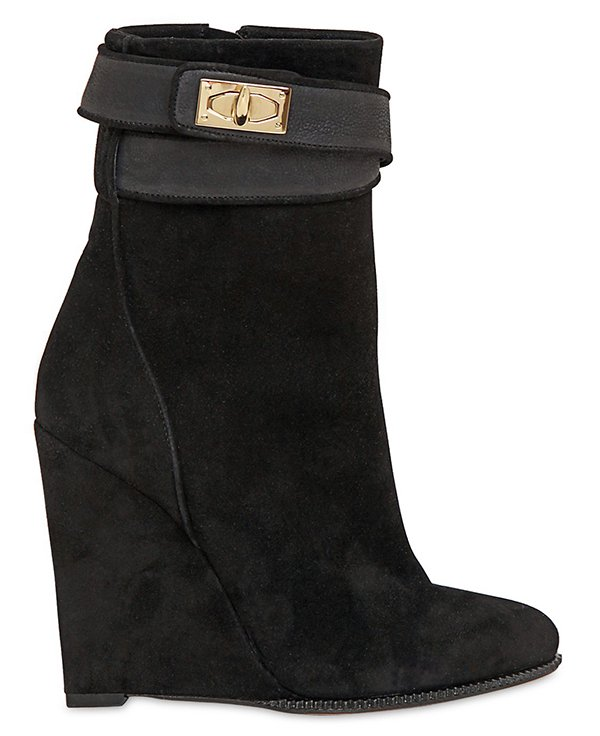 Givenchy Shark Lock Suede Wedge Boots