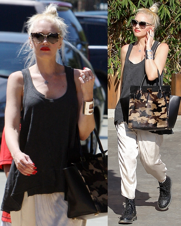 Gwen Stefani's messy top knot and gray top from Wilt