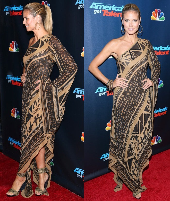 Heidi Klum showing her wild side with a tribal-print dress from Donna Karan's runway show